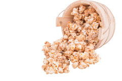 Caramel popcorn on white background Stock Image