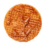 Caramel round waffle with Caramel sauce isolated on white background. Dutch stroopwafel with Golden Butterscotch toffee syrup, top. View stock photography