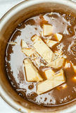 Caramel sauce and white chocolate Royalty Free Stock Photo