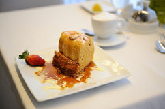 Caramel Souffle. Elegant Caramel Souffle Desert with Cappuccino [Using Shallow Depth of Field stock images