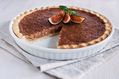Caramel tart with figs Stock Photo
