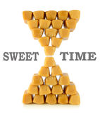 Caramel Toffee folded into an hourglass Royalty Free Stock Images