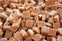 Caramel toffee squares. Dessert toffee squares made of homemade caramel stock photography