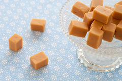 Caramel toffees, fudges on an etagere Stock Images