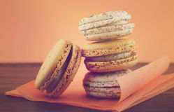 Caramel and vanilla macaroons Royalty Free Stock Images