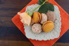 Caramel and vanilla macaroons Royalty Free Stock Images