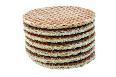 Caramel Wafers in a Pile. On an isolated white background with a clipping path Royalty Free Stock Photos