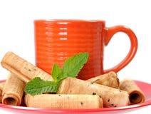 Caramel waffle rolls Stock Photos