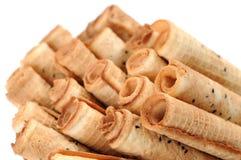 Caramel waffle rolls Royalty Free Stock Images