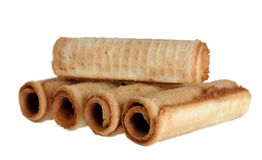 Caramel waffle rolls Royalty Free Stock Photo