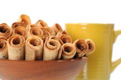 Caramel waffle rolls Royalty Free Stock Photography