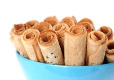Caramel waffle rolls Stock Photography