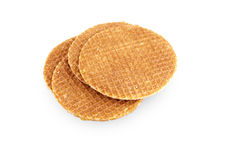 Caramel waffles. Four caramel waffles on a stack. In Dutch they are called: stroopwafels Stock Images