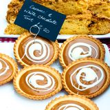 Caramel and white chocolate British tarts Stock Photography