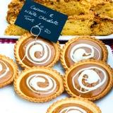 Caramel and white chocolate British tarts Stock Photography