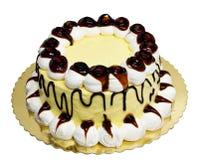 Caramelcake med kräm royaltyfri bild