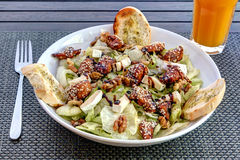 Caramelised chicken salad with lettuce. Delice chicken salad. stock image