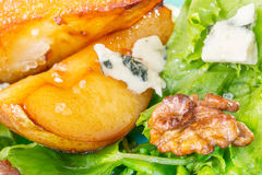 Caramelised pears,walnuts and blue cheese salad Stock Images