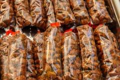 Caramelized almonds group Stock Photos