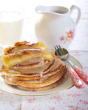 Caramelized bananas pancakes Stock Photo