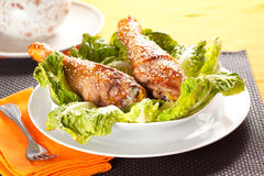 Caramelized chicken thighs with sesame Royalty Free Stock Images