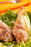 Caramelized chicken thighs with sesame Stock Photo