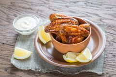 Caramelized chicken wings with spicy sauce Stock Photography