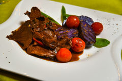 Caramelized duck gourmet meal Royalty Free Stock Image