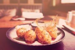 Caramelized fruits, chinese dessert, toned Stock Photos