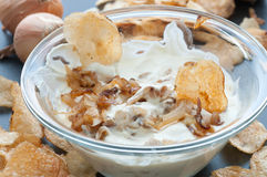 Caramelized Onion Dip. With potato chips Stock Photography
