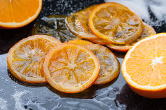 Caramelized Orange Slices. Homemade caramelized organic orange slices royalty free stock photography