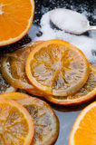 Caramelized Orange Slices. Homemade caramelized organic orange slices stock image