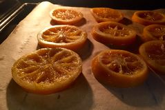 Caramelized oranges in oven Stock Photos