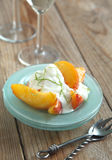 Caramelized Peaches with lime yogurt creme Stock Photos