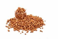 Caramelized Peanuts. Caramelized sugary peanuts on white background Royalty Free Stock Photos