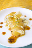 Caramelized pear Baked,gorgonzola  cheese,thyme Stock Photography