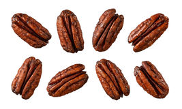Caramelized Pecans isolated on white Stock Image