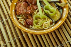 Caramelized soppa för grisköttramennudel Arkivfoton