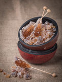 Caramelized sugar in wooden bowl Royalty Free Stock Photos