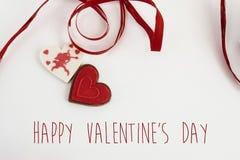 Caramella alla moda del cuore con il cupido su fondo bianco, valent felice Fotografia Stock