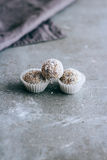 Caramella cruda naturale della noce di cocco dei dolci Fotografia Stock Libera da Diritti