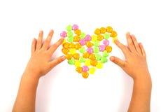 Caramella del cuore di giorno del biglietto di S. Valentino Immagine Stock