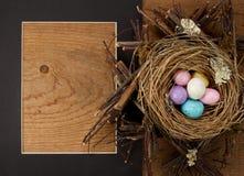 Caramella dell'uovo di Pasqua In un nido con un blocco per grafici Immagini Stock Libere da Diritti