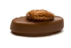 Caramella di cioccolato ovale che la noce dello zucchero, isolata Fotografie Stock Libere da Diritti