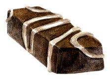 Caramella di cioccolato quadrata dell'acquerello Immagini Stock Libere da Diritti