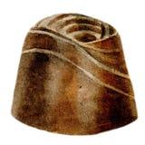 Caramella di cioccolato quadrata dell'acquerello con glassa su un fondo bianco Immagini Stock