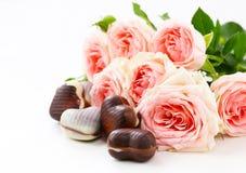 Caramella di cioccolato sotto forma dei cuori e delle rose rosa per il San Valentino Immagine Stock Libera da Diritti