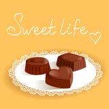 Caramella di cioccolato su un tovagliolo Fotografia Stock Libera da Diritti