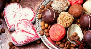 Caramella di cioccolato, tartufo di cioccolato Fotografie Stock Libere da Diritti