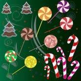 Caramella dolce variopinta squisita e piccoli punti ed albero del pan di zenzero illustrazione vettoriale